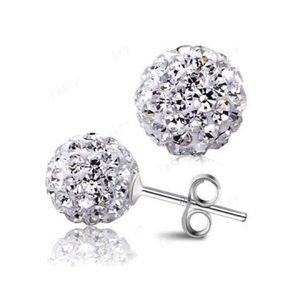 Classic Stud Earrings 10mm Micro Pave Disco Ball